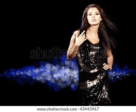 Portrait of a beautiful dancing girl - stock photo