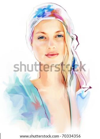 Portrait of a beautiful elegance woman - stock photo