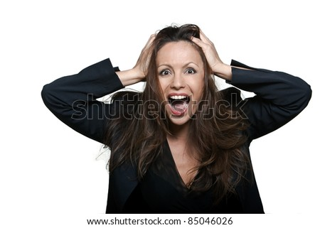 Portrait of a beautiful expressive joyful Asian woman screaming in studio isolated on white background - stock photo