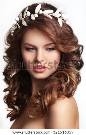 Portrait of a beautiful fashion bride,sweet and sensual.Wedding make up and hair.glamor closeup portrait of  sexy stylish young woman model with bright makeup, with glossy lips,with perfect clean skin - stock photo