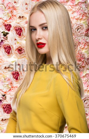 Portrait of a beautiful fashion model, sweet and sensual. Beauty make up and hair. Flowers background. Art modern style. - stock photo