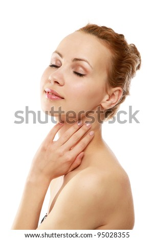 Portrait of a beautiful female model - stock photo