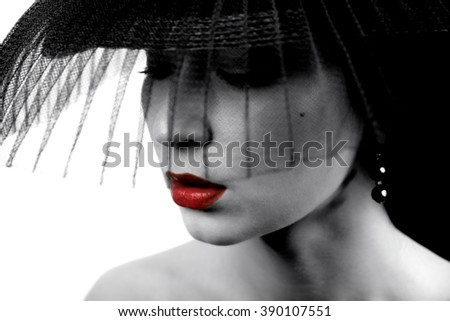 Portrait of a Beautiful female Model. Black and white. - stock photo