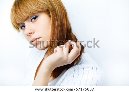 Portrait of a beautiful female model on white background