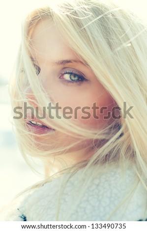 portrait of a beautiful girl closeup - stock photo