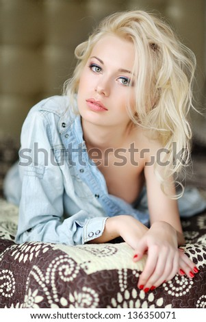 Portrait of a beautiful girl glamorous fashion - stock photo