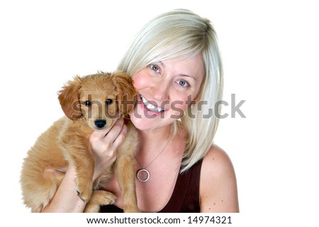 Portrait of a beautiful girl holding her beautiful puppy, best friends - stock photo