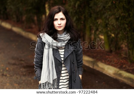portrait of a beautiful girl in a quiet place - stock photo