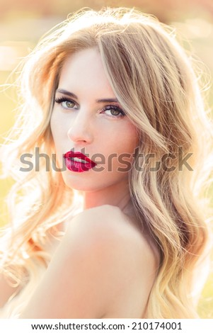 portrait of a beautiful girl in retro style - stock photo