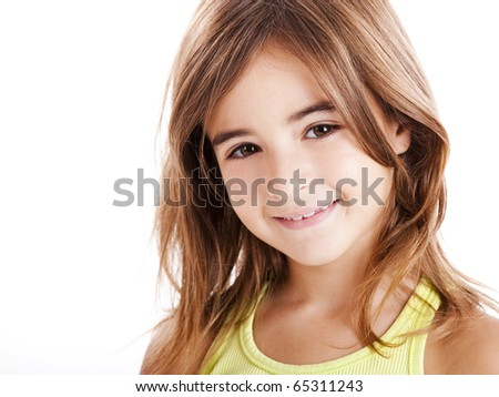 Portrait of a beautiful girl isolated one white - stock photo