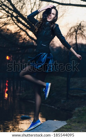 Portrait of a beautiful girl jumping, lifestyle