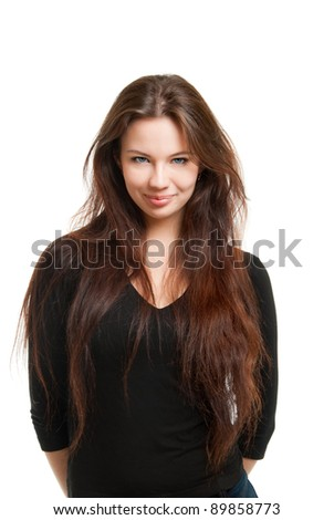 Portrait of a beautiful girl,  on a white background