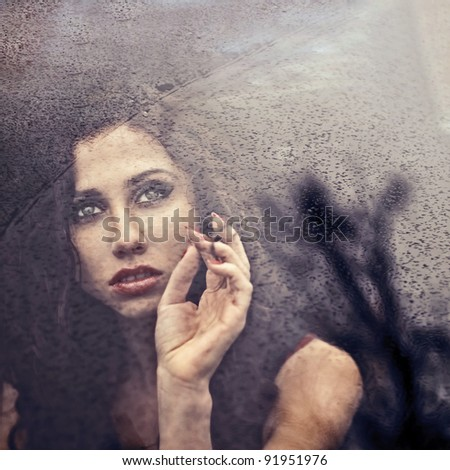 portrait of a beautiful girl. photos in cold tones - stock photo
