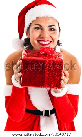 Portrait of a beautiful girl wearing a Santa Claus dress