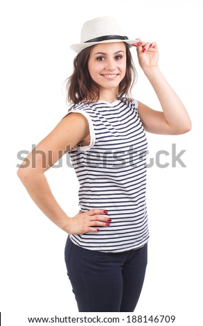 Portrait of a beautiful girl who is wearing a hat isolated on white background