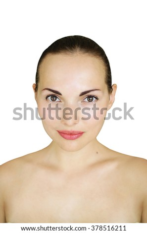 portrait of a beautiful girl with a clean skin