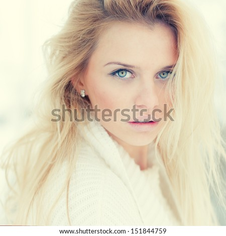 portrait of a beautiful girl with a sexy look - stock photo