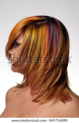 Portrait of a beautiful girl with dyed hair, professional hair colouring