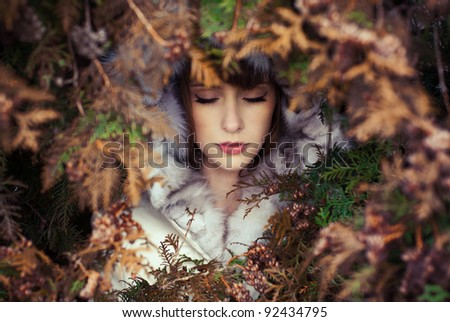 portrait of a beautiful girl with eyes closed - stock photo