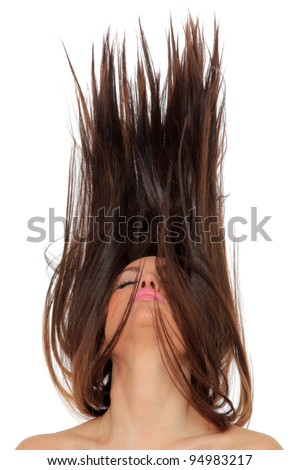 Portrait of a beautiful girl with flying hair - stock photo