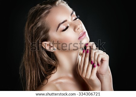 Portrait of a beautiful girl with wet hair. Girl after a shower. Skin care - stock photo