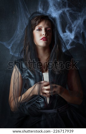 portrait of a beautiful gothic girl in a black veil - stock photo