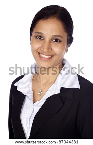 Portrait of a beautiful happy business woman - stock photo