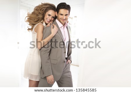 Portrait of a beautiful  happy couple - stock photo