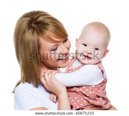 Portrait of a beautiful happy mother with baby  isolated on white - stock photo