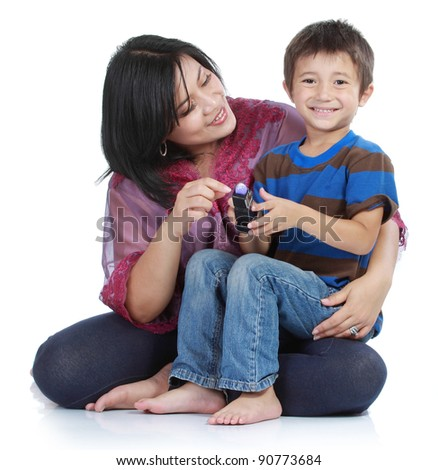 Portrait of a beautiful happy mother with smiling boy isolated on white background - stock photo