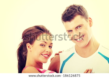 Portrait of a beautiful happy young couple. - stock photo