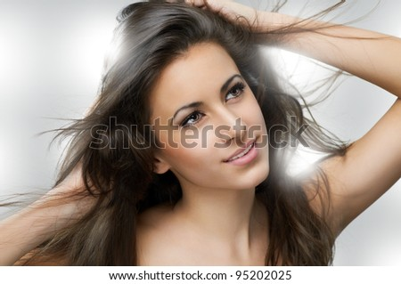 portrait of a beautiful healthy girl - stock photo