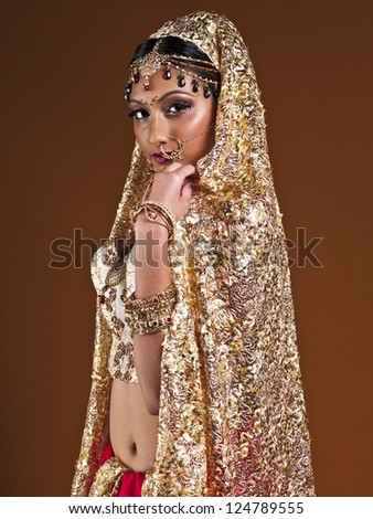 Portrait of a beautiful Indian bride posing