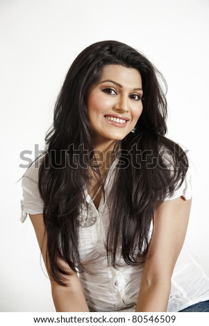portrait of a beautiful indian girl - stock photo