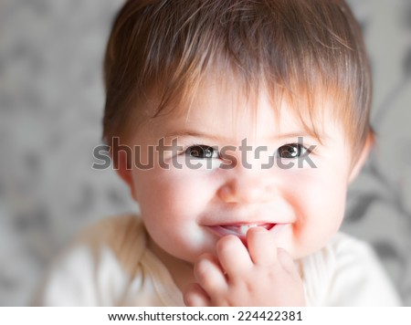 Portrait of a beautiful little baby. Close-up - stock photo