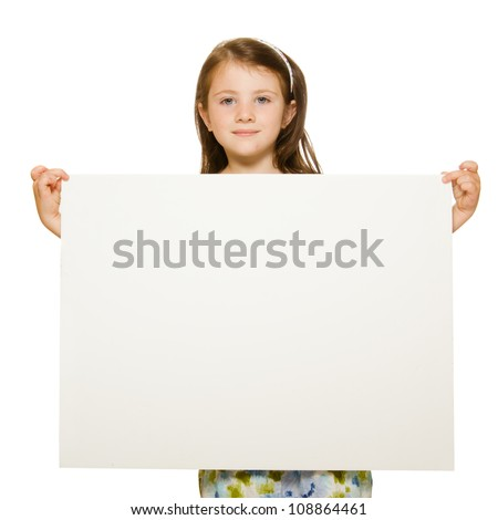 Portrait of a beautiful little girl holding blank sign with room for text Isolated on white background. - stock photo
