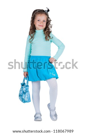 portrait of a beautiful little girl with a satchel - stock photo