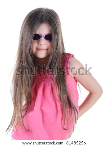 Portrait of a beautiful little long-haired brunette in sunglasses. Isolated on white background - stock photo