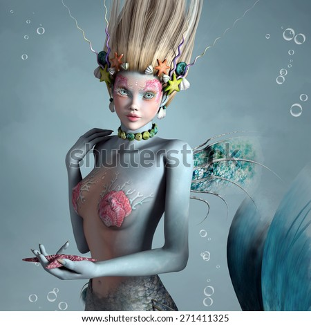 Portrait of a beautiful mermaid with shells and starfish - stock photo