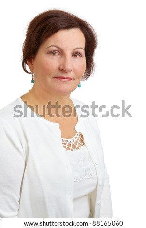 Portrait of a beautiful middle aged woman against a white background. - stock photo