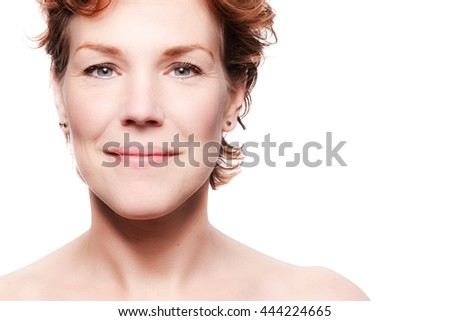Portrait of a beautiful middle aged woman. Beauty and anti age concept. White background. - stock photo