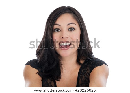 Portrait of a beautiful mixed race Hispanic woman with surprised expression isolated on white - stock photo