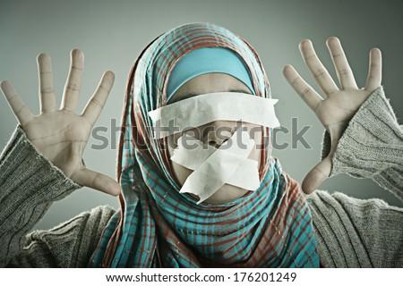 Portrait of a beautiful Muslim Arabic girl - stock photo