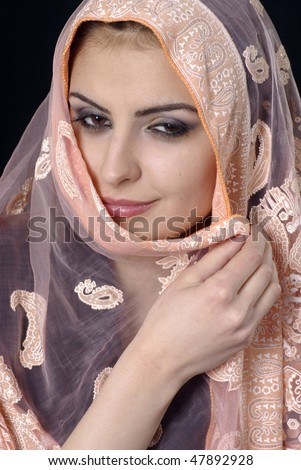 Portrait of a beautiful Muslim woman with brown eyes
