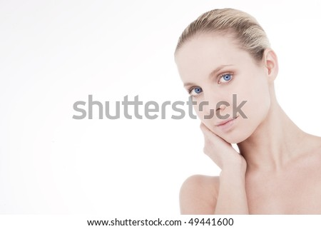 Portrait of a beautiful natural beauty, lots of copy-space - stock photo