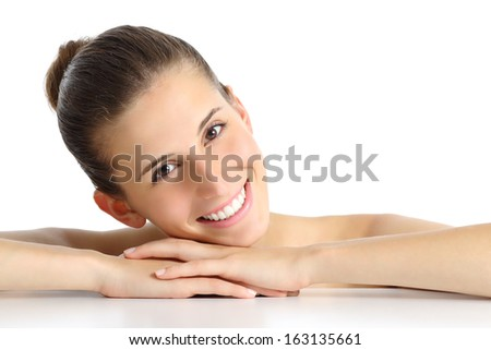 Portrait of a beautiful natural woman facial with a white perfect smile isolated on a white background                  - stock photo