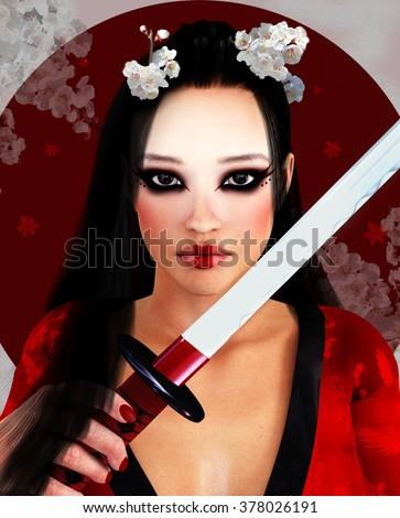Portrait of a beautiful oriental girl with katana - stock photo