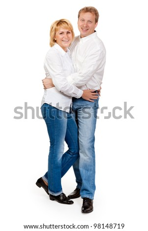 Portrait of a beautiful pair of middle-aged, isolate on white - stock photo