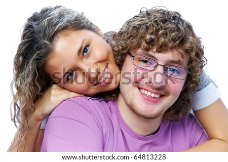 portrait of a beautiful pair of students posing smiling into the camera