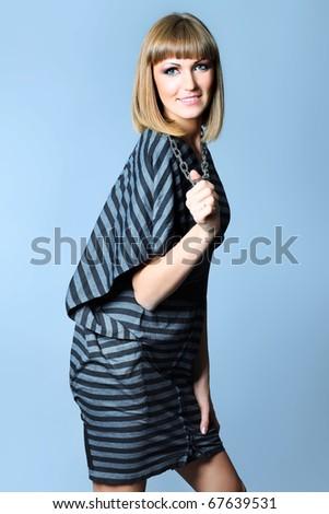Portrait of a beautiful  professional model. Theme: beauty, fashion. - stock photo